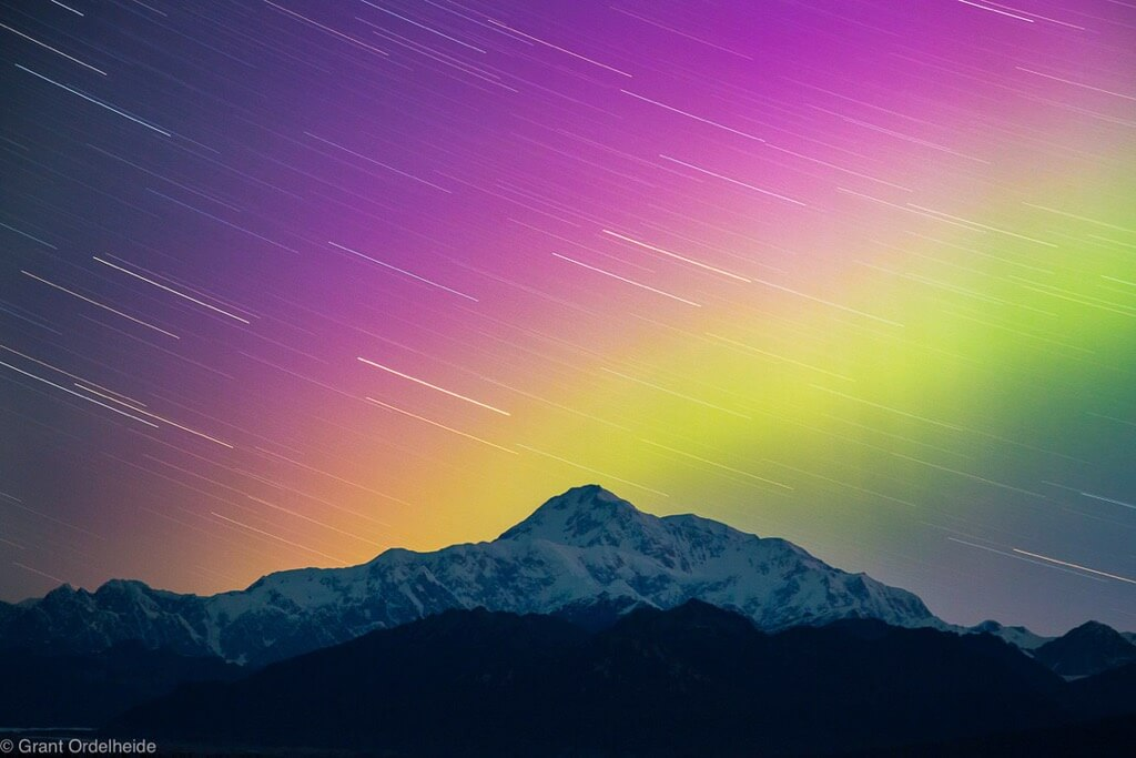 Grant Ordelheide - Aurora Borealis over Alaska's Denali, the highest peak in North America